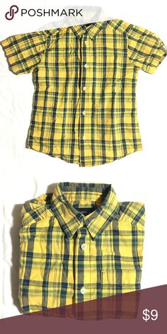 Boy's Sonoma yellow plaid button-up short sleeve 100% cotton and good condition. Bundle 3+ items from me and get 15% off, only pay shipping ONCE, and get a free gift!! Sonoma Shirts & Tops Button Down Shirts