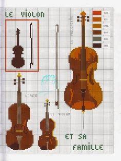 Schema punto croce Il Violino | Hobby lavori femminili - ricamo - uncinetto - maglia
