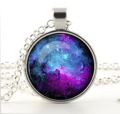 9eea283f6a2 Nebula Pendant Necklace Chain Hot Fashion Jewelry Galaxy Space Art For  Women Colar De Prata