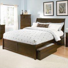 Atlantic Furniture Bordeaux Wood Platform Bed with Flat Panel Footboard 5 Piece Bedroom Set - 924XXFP-PKG2