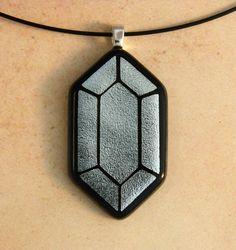 Legend of Zelda Silver Rupee Fused Glass Pendant by linsgeekery