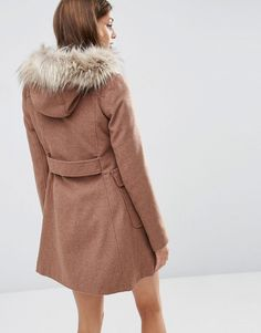 Image 2 ofASOS Wool Blend Faux Fur Hooded Duffle Coat