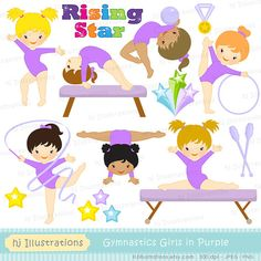 Gymnastic Girls in Purple Clipart set – perfect for party, party decorations, scrapbooking, or just print & cut & play. » You will receive:
