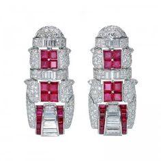 Marina B Art-Deco Inspired Ruby & Diamond Earrings    by Simon Teakle on April 1st, 2010