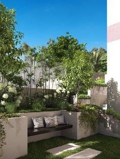 Espana Campello on Behance Backyard Garden Design, Rooftop Garden, Patio Design, Backyard Landscaping, Small Courtyard Gardens, Small Courtyards, Outdoor Gardens, Small Terrace, Garden Seating