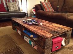 Pallet wood coffee table.  Easiest one to make! Find two identical pallets, cut one third of both off. Flip one upside down. Build a base for the bottom. Wedge pallet pieces in lengthwise gaps to finish table top.  The dark finished was accomplished by light burning with a hand torch and then rubbing boiled linseed oil into the wood.