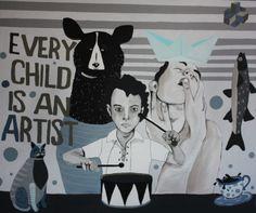 Every child is an artist, acrylic on canvas, 120x100, www.marcinpainta.pl