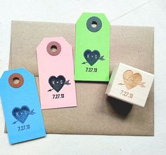 Personalized Rubber Stamp. Love Birds Wedding Date Rubber Stamp for Wedding Favors, Save the Date