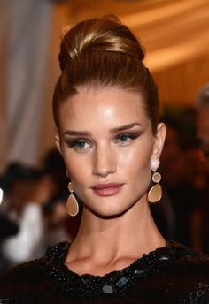 Rosie Huntington-Whiteley Bun Updo Hairstyle for Homecoming | Hairstyles Weekly