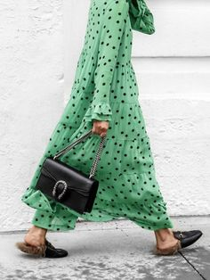 Green Polka Dots V-neck Long Sleeve Casual Chiffon Maxi Dress Fashion Week, Street Fashion, Fashion Outfits, Womens Fashion, Fashion Trends, Retro Fashion, Night Outfits, Fashion Bloggers, Fashion Fashion