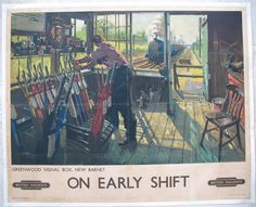 """On Early Shift - Greenwood Signal Box, New Barnet. This was one of Cuneo's first posters for British Railways. This signal box was situated 10 miles out from Kings Cross on the East Coast Main Line , and shows A4 """"Wild Swan"""" approaching at speed on an express. There is a lot of very accurate detail and colour, and wonderful early morning light. Sold by originalrailwayposters.co.uk"""