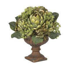 Nearly Natural Artichoke Centerpiece Silk Flower Arrangement (84 AUD) ❤ liked on Polyvore featuring home, home decor, floral decor, nearly natural and nearly natural silk flowers