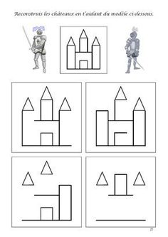 How to draw a castle Chateau Moyen Age, Medieval Party, Château Fort, Kindergarten Worksheets, Kindergarten Learning, Teaching, Math For Kids, Activities For Kids, Coloring Pages