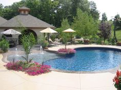 residential zero entry pool design | Zero entry pool for the kiddos!