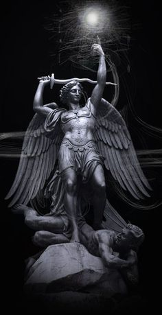 Saint Michael the Archangel. Michael is usually shown with a sword, or carrying… Saint Michael, St. Michael, Angels Among Us, Angels And Demons, Catholic Art, Religious Art, Chaplet Of St Michael, Statue Ange, Male Angels