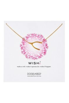 14K Yellow Gold Plated Sterling Silver Wish Wishbone Necklace