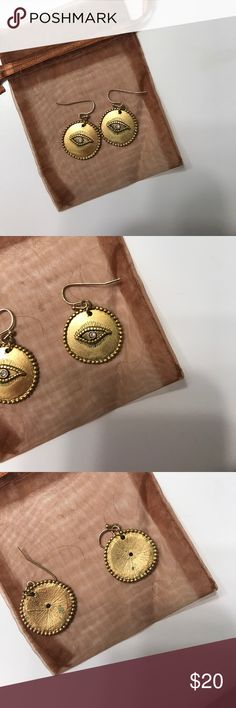 "Gold Evil Eye Dangle Earrings Costume Jewelry! Gold Dangle ""Evil Eye"" earrings from Sequin Jeweler's! Never worn (no tags) Sequin Jewelry Earrings"