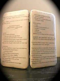 """Harry Potter Book Page Clasp Wallet including the Hogwarts first year supply list from the chapter """"Diagon Ally"""" by TheNerdBoutique, $30.00 Great holiday gift idea for a lady who love Harry Potter! Equal parts fandom and style!!"""