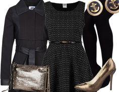 Elegantes Outfit in Schwarz und Gold für ein stilvolles Auftreten #Pumps #Clutch #Mantel