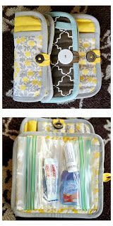turn a potholder into a girl's emergency clutch - perfect for keeping essentials like Advil, floss, and hair ties in the car