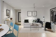 Post: 48 m² bien planificados --> blog decoración pisos pequeños, decoración comedor, decoración en blanco gris azul, decoración nórdica, distribución diáfana, estilo nórdico escandinavo, Piso nórdico pequeño, walkin closet