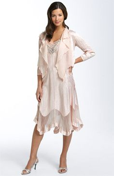 Komarov Beaded Pleated Charmeuse Dress & Jacket | Nordstrom Possible mother of the bride dress.
