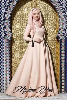 Muslima Wear Collection Maxi Dress in poudre color with silk embroidery on chest and sleeves Wide cut, fully lined skirt Slightly high waist Wrinkle-free breathable fabric Islamic Fashion, Muslim Fashion, Modest Fashion, Modest Clothing, Hijab Abaya, Hijab Dress, Collection Eid, Muslim Dress, Collor