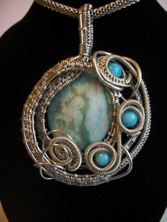 Turquoise Wire Wrapped Pendant in Silver by BuyThePlaceWithBeads, $45.00