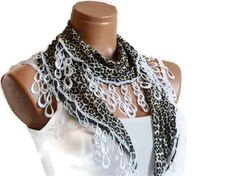 Leopard white woman scarf Turkish Scarf  fabric by WomanStyleStore, $14.00