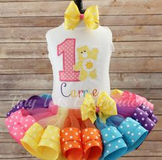 Check out this item in my Etsy shop https://www.etsy.com/listing/290526007/care-bear-birthday-tutu-outfit-funshine