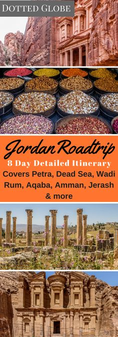 Dotted Globe's Jordan itinerary covers Petra Dead Sea Wadi Rum Aqaba Jerash Amman and other major tourist attractions and is perfect for road-trip aficionados. Cool Places To Visit, Places To Travel, Travel Destinations, Eastern Travel, Jordan Travel, Travel Guides, Travel Tips, Travel Advice, Wadi Rum