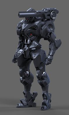 Some kinda mech I created based on my own concept drawing. Robot Concept Art, Armor Concept, Weapon Concept Art, Futuristic Armour, Futuristic Art, Rpg Cyberpunk, Space Opera, Mecha Suit, Arte Robot