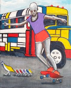 """a.i.-ing happy"" © GNavar 2017; 10 x 8 in; acrylic, pencils, ink & oil on canvas board.  #artificialintelligence #Mondrian #Mondrianbus #skater #skateboarding #happy #primarycolors #feliz #secondarycolors #GabrielNavar #partrigefamily #birds #painting #art #kunstler #malerei #paintedbus"