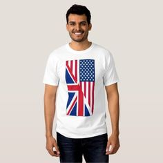 American and Union Jack Flag Men's Basic T-Shirt