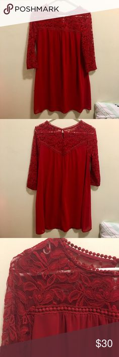 Red Lace 3/4 Sleeve Dress Practically new! Worn once! I still have the tags for an accurate depiction of the price. Also includes an extra button for the back. Loose fit. Perfect for a graduation, banquet, dinner, or any day! Can be dressed up or down. As U Wish Dresses