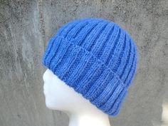 Blue Ribbed Hat Hand Knit  Wool Blend Men/Teens/Women by Girlpower