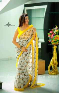 Color : Yellow Saree Fabric : Printed Georgette With Ruffle Satin Zalar With Pari Lace Blouse Fabric : Heavy Satin Saree Size : Mtr Blouse Size : Mtr Quality check done. Lace Saree, Organza Saree, Saree Dress, Georgette Sarees, Silk Sarees, Sari Silk, Saree Floral, Chiffon Saree, Blouse Designs Silk