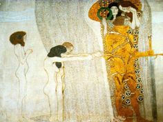 The Beethoven Frieze, 1902 - Secession Building, Vienna, Oil by Gustav Klimt (1862-1918, Austria)