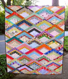 Euphoria Jessica: A friend, and a quilt.  Quilt pattern is Firedrill from Modern Patchwork by Elizabeth Hartman.