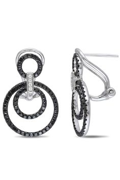 Eclipse 0.8 Ct Black And White Diamond Earrings In 14k White Gold -love black and white diamonds!
