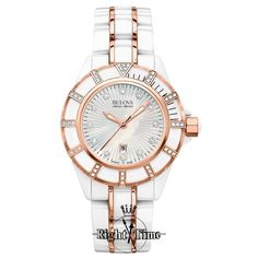 A striking Swiss made ladies watch with 51 diamonds on white ceramic with rose gold tone accents. Featuring a Mother of Pearl dial, 50M water resistance, sapphire crystal and uni-directional rotating