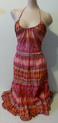 NWT Angie multi color summer halter patterned dress size L Large in Clothing, Shoes & Accessories, Women's Clothing, Dresses | eBay