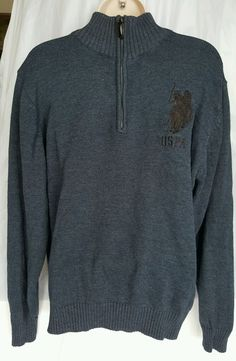 Polo Ralph Lauren Big Pony Zipper Mockneck sweater Large Grey  | Clothing, Shoes & Accessories, Men's Clothing, Sweaters | eBay!