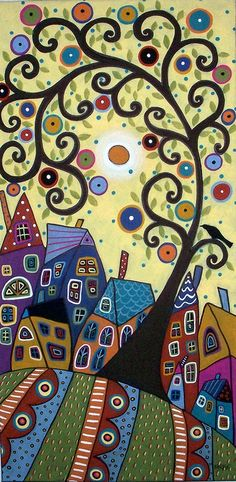 Gorgeous Swirl Tree & Houses12x24 original acrylic and oil painting on stretched canvas by Karla G