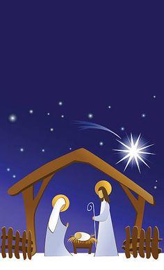 Pesebre con la Sagrada Familia - ilustración de arte vectorial