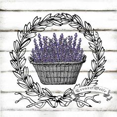 Vintage Lavender Basket Wreath Large Instant by CreatifBelle Vintage Labels, Vintage Ephemera, Vintage Cards, Vintage Images, Shabby Vintage, French Vintage, Decoupage Printables, Iron On Fabric, Art Background