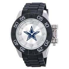 The Dallas Cowboys watch is a heavy duty NFL sports watch that displays the officialDallas Cowboys NFL football logo in full color on a sunray dial. TheDallas Cowboys watch has a durable and sweat resistant polyurethane strap with sports buckle. The glass on the sports watch is a scratch resistant mineral crystal so you don't have to worry about this wristwatch getting nicks or scratches. TheDallas Cowboys wristwatch is water resistant and backed by our limited lifetime warranty. This…