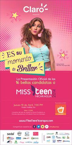 Están invitados a la Presentación Oficial de nuestras 16 bellas candidatas a Miss Teen Nicaragua 2014.