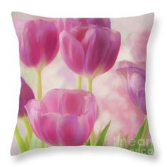 Tulips Soft and Sweet Throw Pillow by Regina Geoghan
