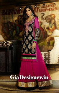 Shilpa Shetty Pink Black Designer Anarkali Bollywood Replica Suit